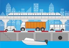 Ruch drogowy w mieście Royalty Ilustracja