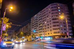 Ruch drogowy w noc Zdjęcie Royalty Free
