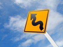 Ruch drogowy wyginający się Drogowy Znak Obraz Royalty Free