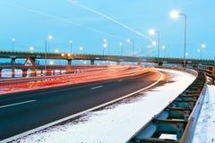 ruch drogowy zima Zdjęcia Royalty Free
