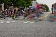 Ruch plama Męscy cykliści Obraca kąt W amator rasie zdjęcie royalty free