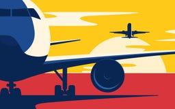 Ruch powietrzny Mieszkanie stylowa wektorowa ilustracja samoloty przy royalty ilustracja