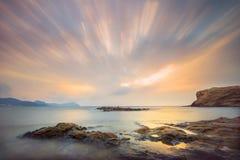 Ruch przy wschodem słońca - Los Escullos almerÃa Hiszpania obrazy stock