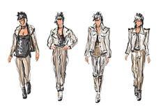 Ruch punków Kreślił moda modelów royalty ilustracja