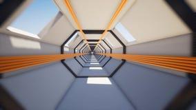 Ruch wśrodku długiego tunelu z drymbami ilustracji