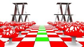 Ruch widok wzdłuż karta do gry na chessboard z maską i amanita 3D-rendering UHD - 4K