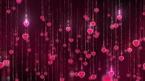 Ruch wiele czerwoni rozjarzeni serca abstrakcyjny tło zdjęcie wideo