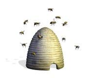 Ruche d'abeille avec des abeilles Photo stock