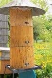 Ruche d'abeille avec un toit en métal et des prises en bois images stock
