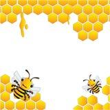 Ruche et cadre heureux d'abeilles illustration libre de droits