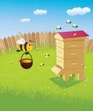 Ruche et les abeilles illustration de vecteur