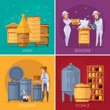Rucher Honey Production Cartoon Concept Photo stock