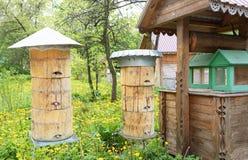Ruches d'abeille avec différents types des toits en métal et de prises en bois photographie stock libre de droits