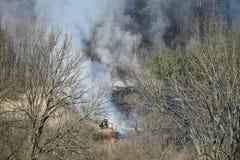 Ruches de délivrance de sapeurs-pompiers avant le feu de l'herbe sèche photo libre de droits