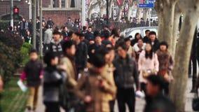 Ruchliwa Ulica ruch drogowy w Szanghaj czasu upływie zbiory