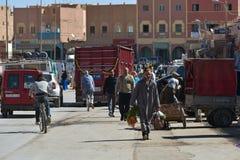 Ruchliwa ulica w Marrakesh, Maroko Fotografia Stock