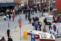 Ruchliwe ulicy z chowderfest, Luty 2nd, 2013, Saratoga Skaczą Nowy Jork, Zdjęcie Royalty Free