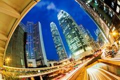 ruchliwie Hong kong noc ruch drogowy Zdjęcia Royalty Free