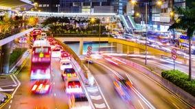 Ruchliwie miasto noc Timelapse. Centrala. Hong Kong. zbiory