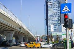 Ruchliwie ruch drogowy, Bucharest obraz royalty free