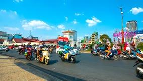 Ruchliwie ruch drogowy w Ho Chi Minh mieście Obraz Royalty Free