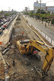 Ruchliwie ruch drogowy w uderzeniu Kae wschodni Bangkok Obrazy Stock