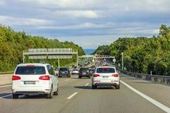 Ruchu drogowego dżem, autobahn, Germany obraz stock