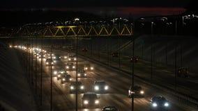 Ruchu drogowego dżem na autostradzie przy nocą zbiory