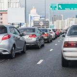 Ruchu drogowego dżem na ekspresowym sposobie w godzinie szczytu Fotografia Royalty Free