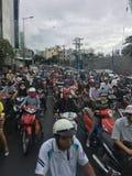 Ruchu drogowego dżem w HO CHI MINH mieście, WIETNAM obraz stock