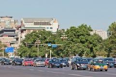 Ruchu drogowego dżem na Chang aleja, Pekin, Chiny Fotografia Royalty Free
