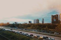 Ruchu drogowego d?em w Bangkok mie?cie fotografia stock