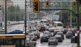 Ruchu drogowego d?em w godzina szczytu Bu?garia Sofia zdjęcie stock