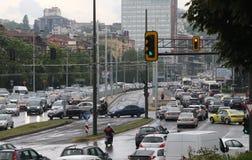 Ruchu drogowego d?em w godzina szczytu Bu?garia Sofia zdjęcia royalty free