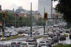 Ruchu drogowego d?em w godzina szczytu Bu?garia Sofia fotografia royalty free