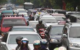 Ruchu drogowego dżem w Dżakarta Indonezja Zdjęcie Royalty Free