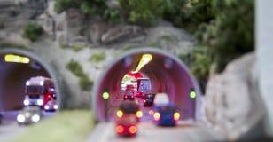 Ruchu drogowego dżem w tunelu Zdjęcia Royalty Free