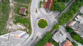 Ruchu drogowego Drogowy Kółkowy skrzyżowanie fotografia royalty free