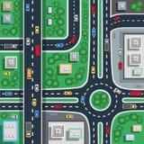 Ruchu drogowego miasta wierzchołka mieszkania plakat royalty ilustracja