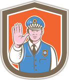 Ruchu drogowego policjanta ręki przerwy znaka osłony kreskówka Zdjęcia Royalty Free