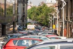 Ruchu drogowego Samochodowy dżem W śródmieściu Bucharest miasto Zdjęcia Stock