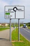 Ruchu drogowego znak dla Zakopuję St Edmunds, Thurston i Wielki Barton Zdjęcie Stock