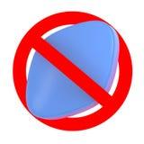 Ruchu drogowego znak z błękitną pigułką, Żadny leka pojęcie Zdjęcia Stock