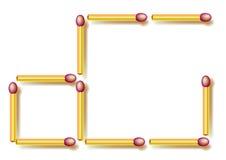 Ruchu trzy matchsticks robić trzy kwadratom Logiki łamigłówka Zdjęcia Stock