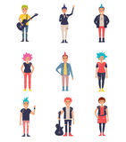 Ruchy punków ustawiający wektor kreskówka Obraz Royalty Free