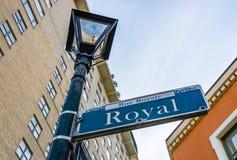 Ruciany Królewski znak uliczny w Nowy Orlean, Luizjana fotografia stock