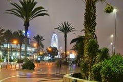 Ruciany losu angeles Plage nocą w Agadir, Maroko Zdjęcie Stock