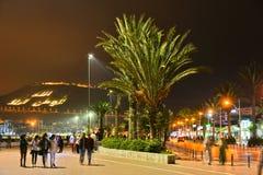 Ruciany losu angeles Plage nocą w Agadir, Maroko Obraz Royalty Free