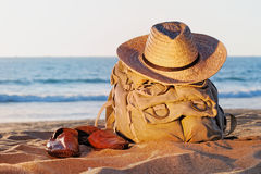 Rucksack on the beach Royalty Free Stock Photo