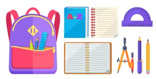 Rucksack Fashionable Model and School Accessory. Backpack for child with school stationery accessories pencils and ruler in back pocket, open exercise book Stock Photo